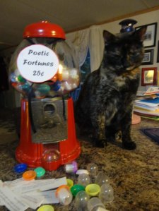 Pippi checks out the Poetic Fortune machine--coming to the museum this weekend.