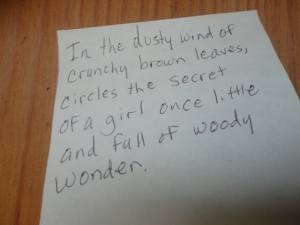 Sticky note left in Secret Corner.