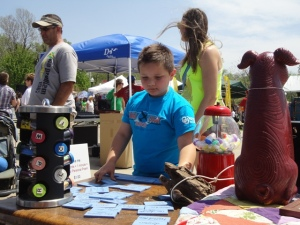 At the Red Fern Festival, this little boy came back time after time to make new poems from the words on blocks.
